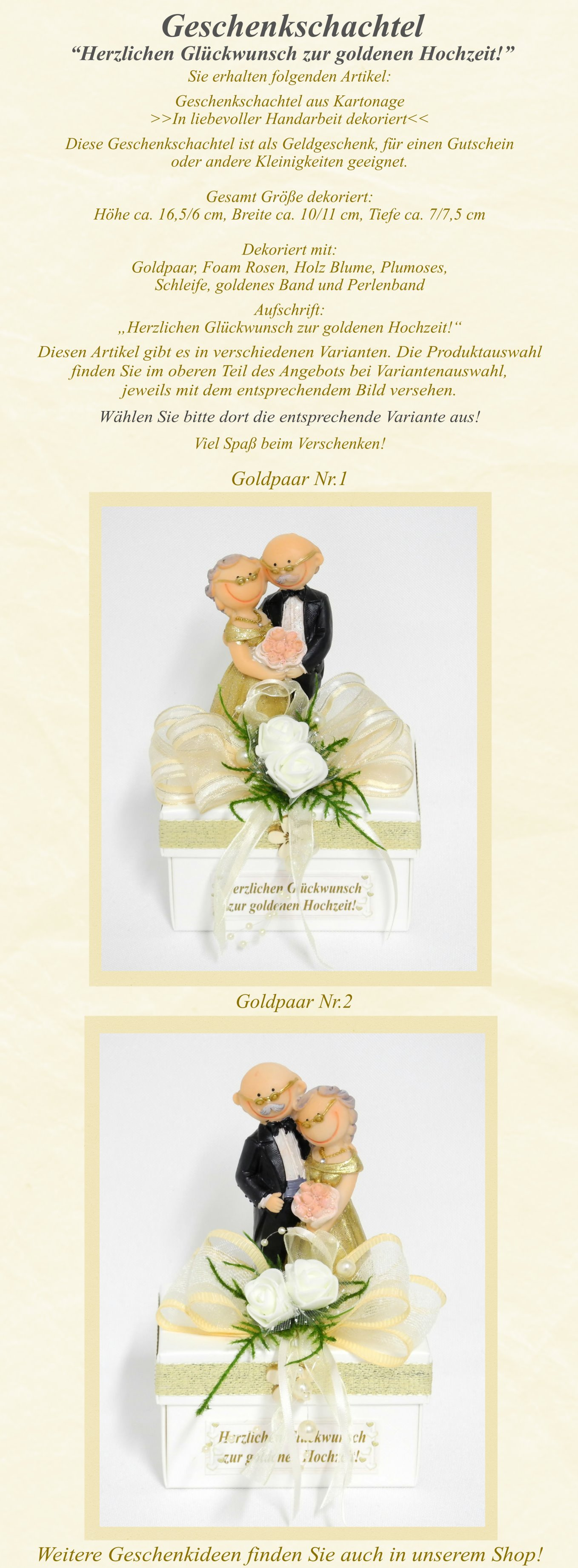 Details Zu Geschenkschachtel Geschenkbox Goldene Hochzeit Goldpaar Geldgeschenk